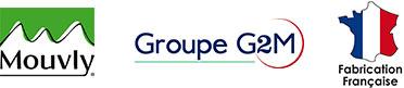 Ensemble des logos de Mouvly, Groupe G2M et Fabrication Française.